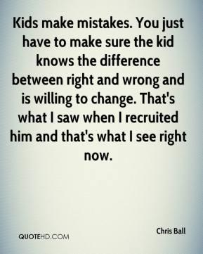 Chris Ball - Kids make mistakes. You just have to make sure the kid knows the difference between right and wrong and is willing to change. That's what I saw when I recruited him and that's what I see right now.