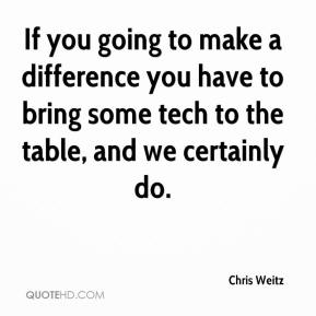 If you going to make a difference you have to bring some tech to the table, and we certainly do.