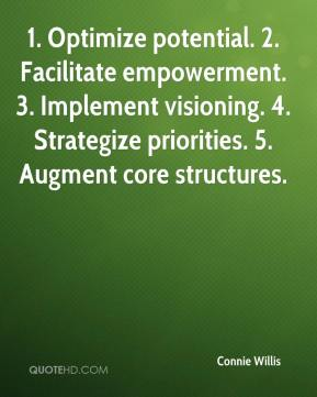 Connie Willis - 1. Optimize potential. 2. Facilitate empowerment. 3. Implement visioning. 4. Strategize priorities. 5. Augment core structures.