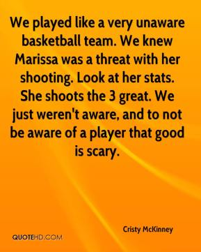 Cristy McKinney - We played like a very unaware basketball team. We knew Marissa was a threat with her shooting. Look at her stats. She shoots the 3 great. We just weren't aware, and to not be aware of a player that good is scary.