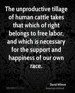 David Wilmot - The unproductive tillage of human cattle takes that which of right belongs to free labor, and which is necessary for the support and happiness of our own race.