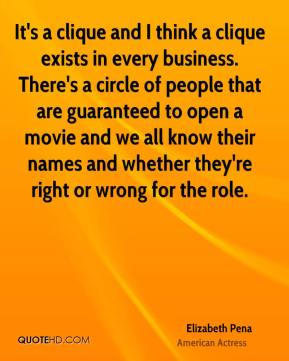 Elizabeth Pena - It's a clique and I think a clique exists in every business. There's a circle of people that are guaranteed to open a movie and we all know their names and whether they're right or wrong for the role.