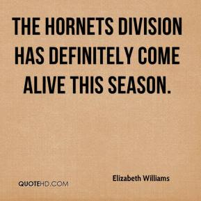 Elizabeth Williams - The Hornets division has definitely come alive this season.