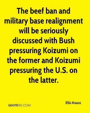 Ellis Krauss - The beef ban and military base realignment will be seriously discussed with Bush pressuring Koizumi on the former and Koizumi pressuring the U.S. on the latter.