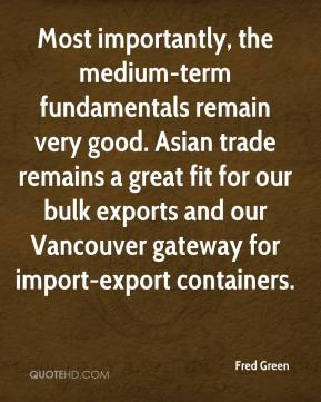 Fred Green - Most importantly, the medium-term fundamentals remain very good. Asian trade remains a great fit for our bulk exports and our Vancouver gateway for import-export containers.