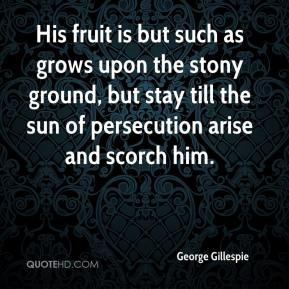 George Gillespie - His fruit is but such as grows upon the stony ground, but stay till the sun of persecution arise and scorch him.