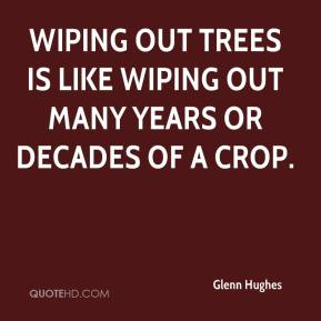 Glenn Hughes - Wiping out trees is like wiping out many years or decades of a crop.