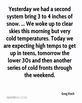 Greg Koch - Yesterday we had a second system bring 3 to 4 inches of snow. ... We woke up to clear skies this morning but very cold temperatures. Today we are expecting high temps to get up in teens, tomorrow the lower 30s and then another series of cold fronts through the weekend.