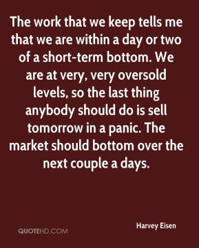 Harvey Eisen - The work that we keep tells me that we are within a day or two of a short-term bottom. We are at very, very oversold levels, so the last thing anybody should do is sell tomorrow in a panic. The market should bottom over the next couple a days.