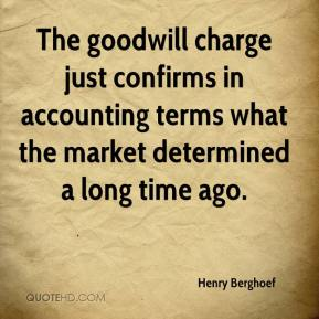 Henry Berghoef - The goodwill charge just confirms in accounting terms what the market determined a long time ago.