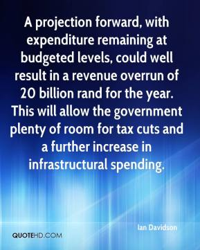 Ian Davidson - A projection forward, with expenditure remaining at budgeted levels, could well result in a revenue overrun of 20 billion rand for the year. This will allow the government plenty of room for tax cuts and a further increase in infrastructural spending.