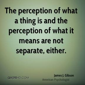 The perception of what a thing is and the perception of what it means are not separate, either.