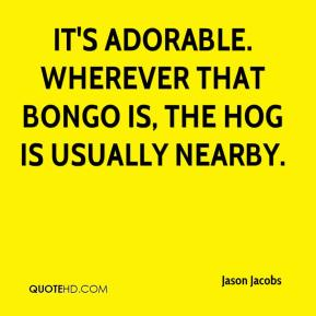 Jason Jacobs - It's adorable. Wherever that bongo is, the hog is usually nearby.