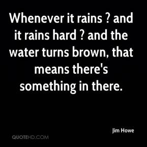 Whenever it rains ? and it rains hard ? and the water turns brown, that means there's something in there.