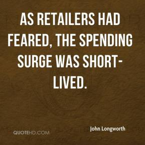 As retailers had feared, the spending surge was short-lived.