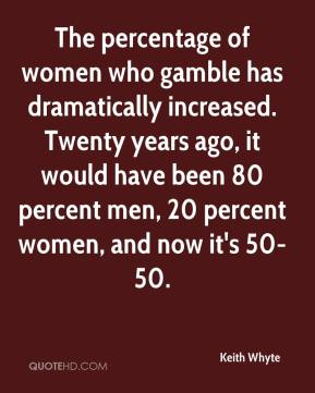 Keith Whyte  - The percentage of women who gamble has dramatically increased. Twenty years ago, it would have been 80 percent men, 20 percent women, and now it's 50-50.