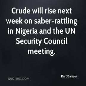 Kurt Barrow  - Crude will rise next week on saber-rattling in Nigeria and the UN Security Council meeting.