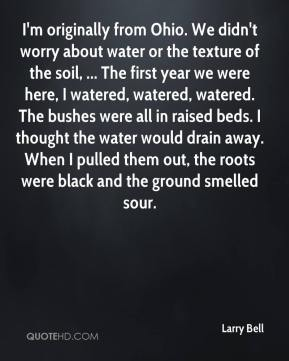 Larry Bell  - I'm originally from Ohio. We didn't worry about water or the texture of the soil, ... The first year we were here, I watered, watered, watered. The bushes were all in raised beds. I thought the water would drain away. When I pulled them out, the roots were black and the ground smelled sour.
