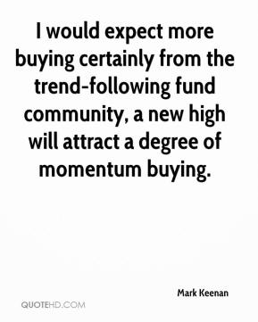 Mark Keenan  - I would expect more buying certainly from the trend-following fund community, a new high will attract a degree of momentum buying.