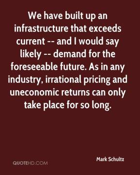 Mark Schultz  - We have built up an infrastructure that exceeds current -- and I would say likely -- demand for the foreseeable future. As in any industry, irrational pricing and uneconomic returns can only take place for so long.