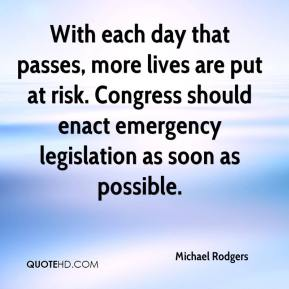 With each day that passes, more lives are put at risk. Congress should enact emergency legislation as soon as possible.