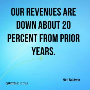 Our revenues are down about 20 percent from prior years.