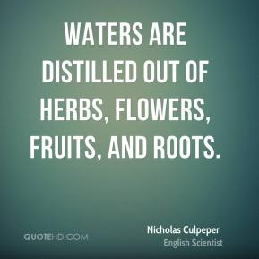 Nicholas Culpeper - Waters are distilled out of Herbs, Flowers, Fruits, and Roots.