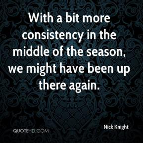 Nick Knight  - With a bit more consistency in the middle of the season, we might have been up there again.