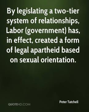 Peter Tatchell  - By legislating a two-tier system of relationships, Labor (government) has, in effect, created a form of legal apartheid based on sexual orientation.