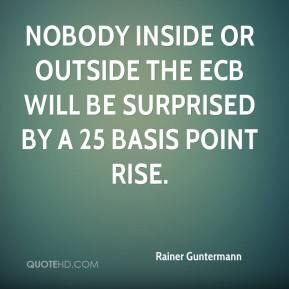 Rainer Guntermann  - Nobody inside or outside the ECB will be surprised by a 25 basis point rise.