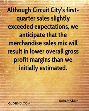 Richard Sharp  - Although Circuit City's first-quarter sales slightly exceeded expectations, we anticipate that the merchandise sales mix will result in lower overall gross profit margins than we initially estimated.
