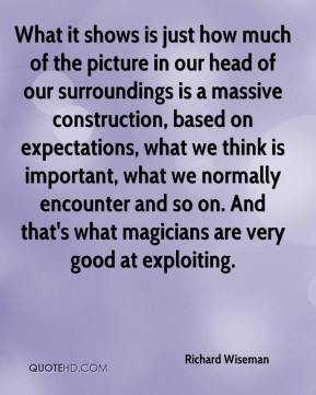 What it shows is just how much of the picture in our head of our surroundings is a massive construction, based on expectations, what we think is important, what we normally encounter and so on. And that's what magicians are very good at exploiting.
