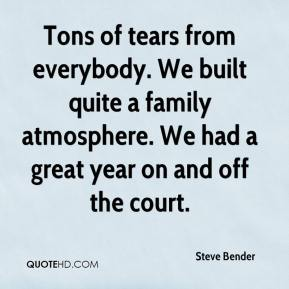 Steve Bender  - Tons of tears from everybody. We built quite a family atmosphere. We had a great year on and off the court.