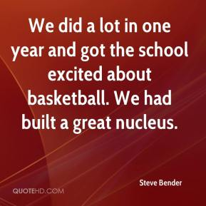 We did a lot in one year and got the school excited about basketball. We had built a great nucleus.