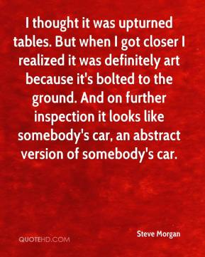 Steve Morgan  - I thought it was upturned tables. But when I got closer I realized it was definitely art because it's bolted to the ground. And on further inspection it looks like somebody's car, an abstract version of somebody's car.
