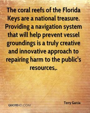Terry Garcia  - The coral reefs of the Florida Keys are a national treasure. Providing a navigation system that will help prevent vessel groundings is a truly creative and innovative approach to repairing harm to the public's resources.