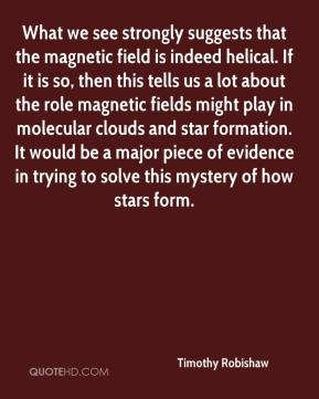 Timothy Robishaw  - What we see strongly suggests that the magnetic field is indeed helical. If it is so, then this tells us a lot about the role magnetic fields might play in molecular clouds and star formation. It would be a major piece of evidence in trying to solve this mystery of how stars form.