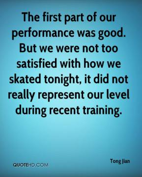 The first part of our performance was good. But we were not too satisfied with how we skated tonight, it did not really represent our level during recent training.