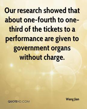 Wang Jian  - Our research showed that about one-fourth to one-third of the tickets to a performance are given to government organs without charge.