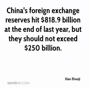 Xiao Zhuoji  - China's foreign exchange reserves hit $818.9 billion at the end of last year, but they should not exceed $250 billion.
