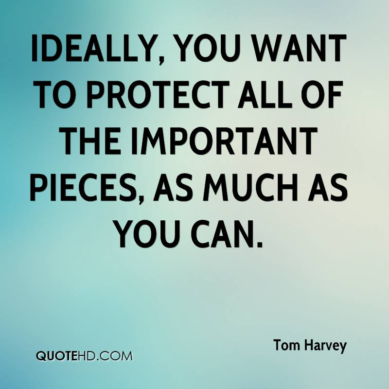 Ideally, you want to protect all of the important pieces, as much as you can.