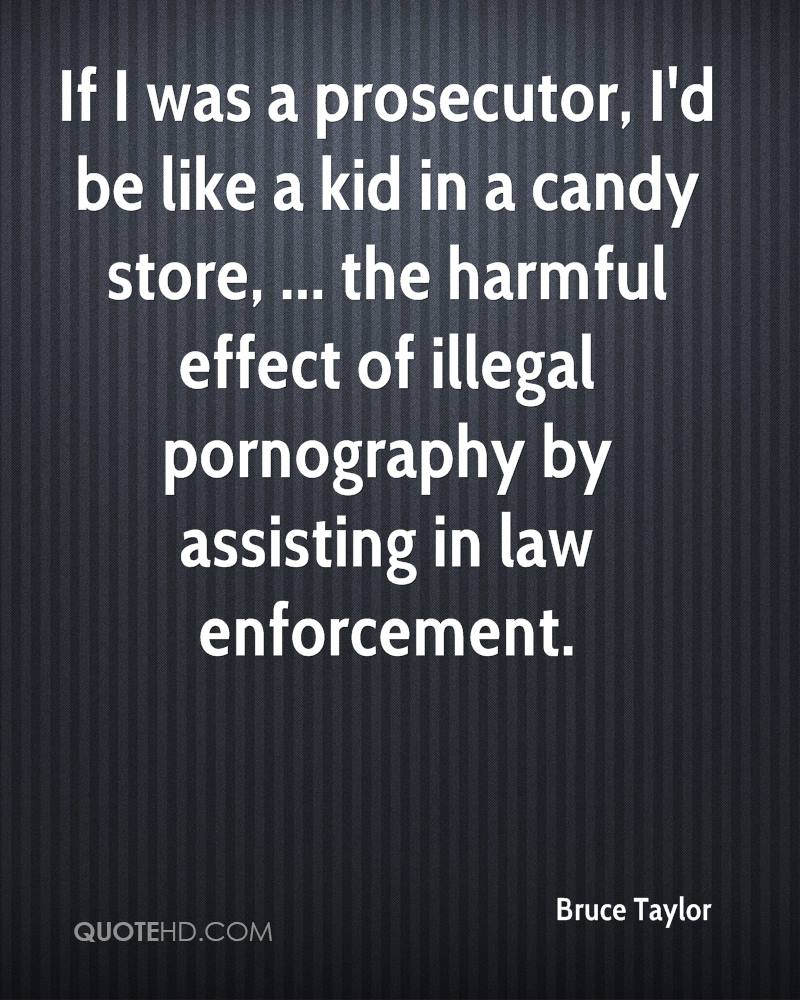 If I was a prosecutor, I'd be like a kid in a candy store, ... the harmful effect of illegal pornography by assisting in law enforcement.