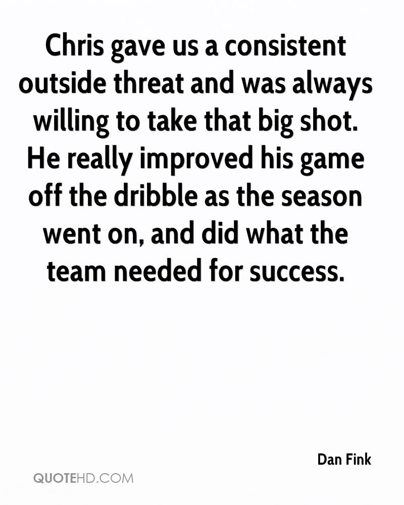 Chris gave us a consistent outside threat and was always willing to take that big shot. He really improved his game off the dribble as the season went on, and did what the team needed for success.