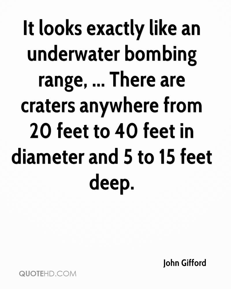 It looks exactly like an underwater bombing range, ... There are craters anywhere from 20 feet to 40 feet in diameter and 5 to 15 feet deep.