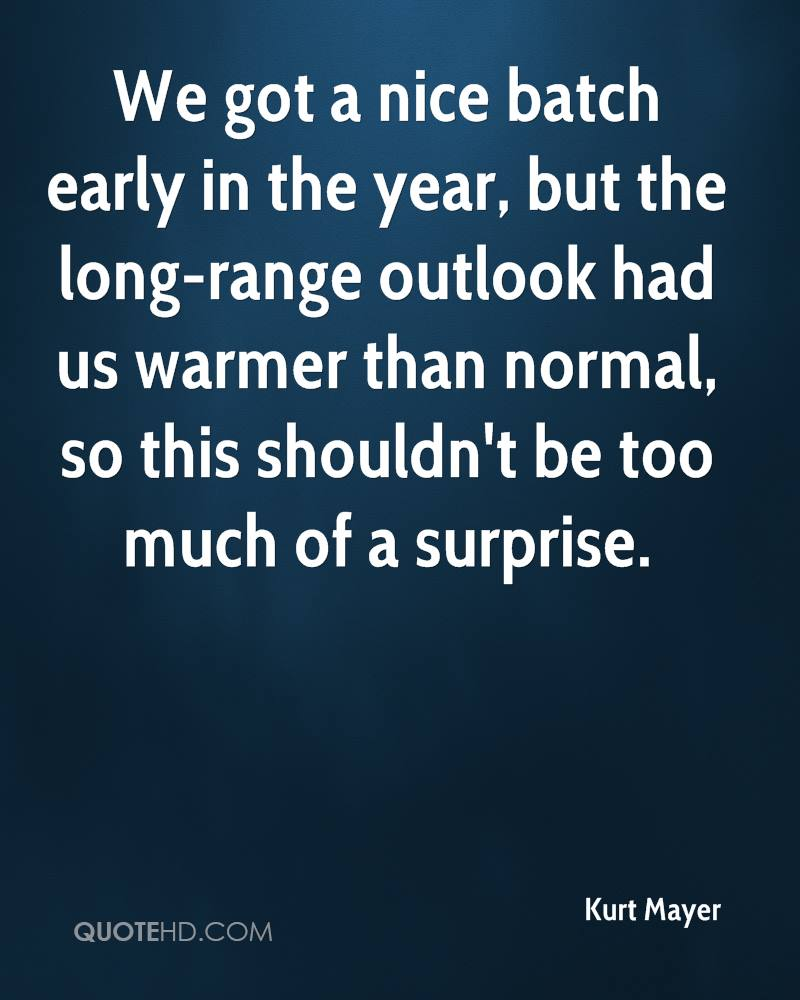 We got a nice batch early in the year, but the long-range outlook had us warmer than normal, so this shouldn't be too much of a surprise.
