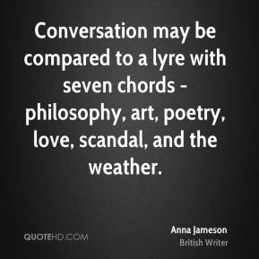 Anna Jameson - Conversation may be compared to a lyre with seven chords - philosophy, art, poetry, love, scandal, and the weather.