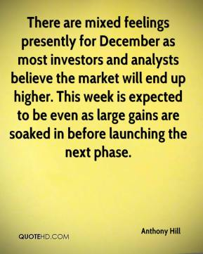 Anthony Hill - There are mixed feelings presently for December as most investors and analysts believe the market will end up higher. This week is expected to be even as large gains are soaked in before launching the next phase.