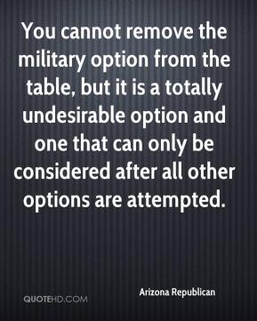 Arizona Republican - You cannot remove the military option from the table, but it is a totally undesirable option and one that can only be considered after all other options are attempted.