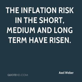 Axel Weber - The inflation risk in the short, medium and long term have risen.