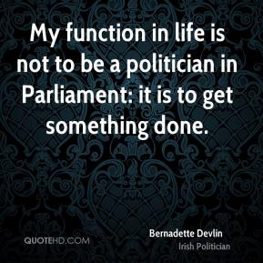 My function in life is not to be a politician in Parliament: it is to get something done.
